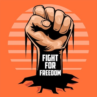 Combatti per la libertà con l'illustrazione del pugno