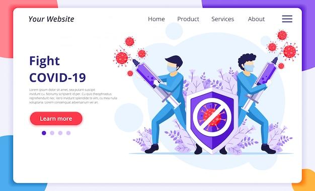 Combatti il concetto di virus, il medico e le infermiere usano la siringa per combattere il coronavirus covid-19. modello di progettazione della pagina di destinazione del sito web