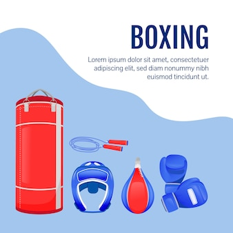 Post sui social media per equipaggiamento da combattimento. merci di boxe. modello struttura banner web. attrezzatura sportiva professionale