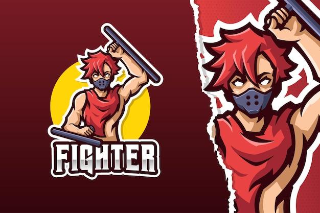 Il modello di logo della mascotte di fighter man