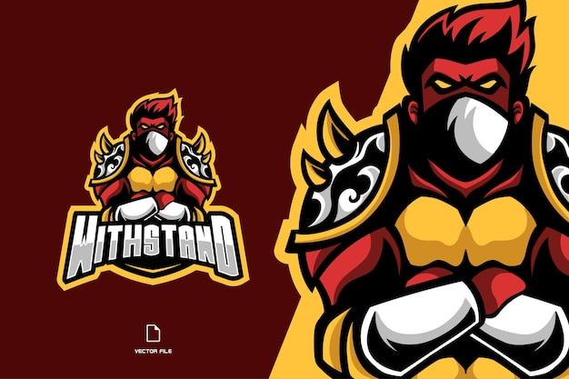Combattente guerriero mascotte esport logo personaggio fumetto illustrazione