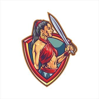Logo esport di donna combattente