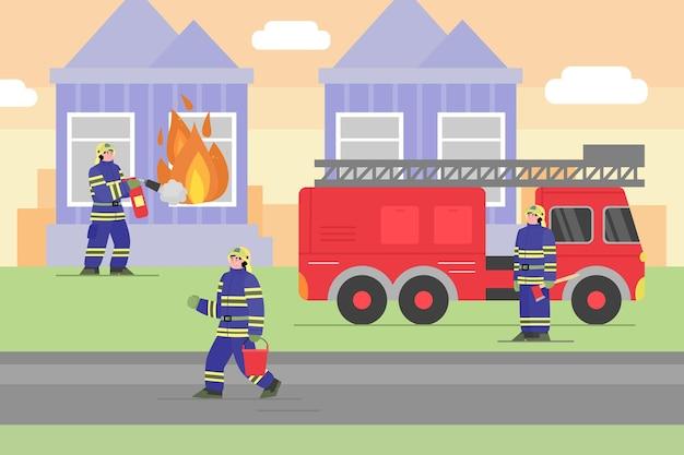 Combattere il fuoco in casa con l'illustrazione piana di vettore del fumetto del camion dei pompieri