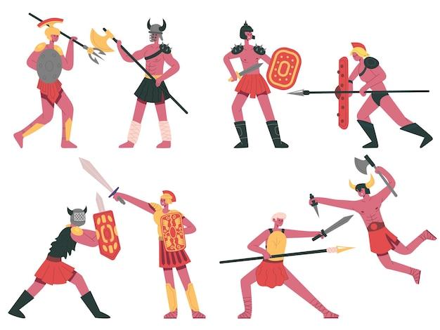 Combattimento di gladiatori romani guerrieri greci armati bellicosi gladiatori di battaglia romani cartone animato set vettoriale
