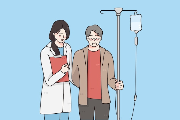 Combattendo con il cancro e il concetto di assistenza sanitaria Vettore Premium