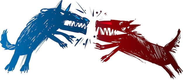 Illustrazione di lupi combattenti