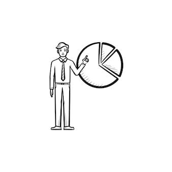 Figura con l'icona di vettore di doodle di contorno disegnato a mano diagramma. concetto di presentazione del progetto con figura di uomo per stampa, web, mobile e infografica isolato su sfondo bianco.