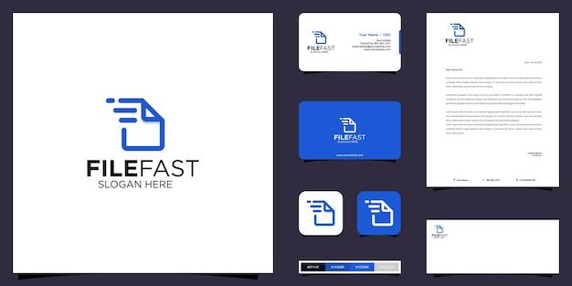 File logo veloce e design dell'identità del marchio