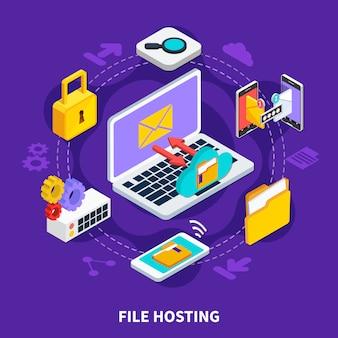 Concetto di progetto isometrico di hosting di file