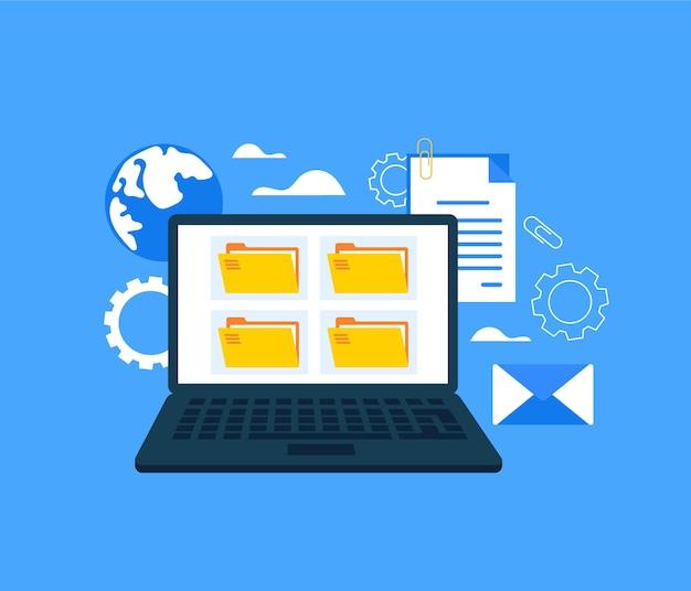 Concetto di database di documenti di organizzazione di file. cartone animato