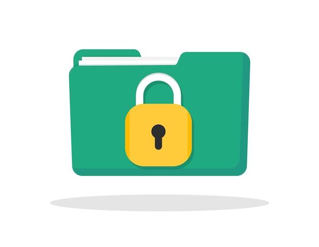 Protezione file cartella verde con documenti e lucchetto giallo