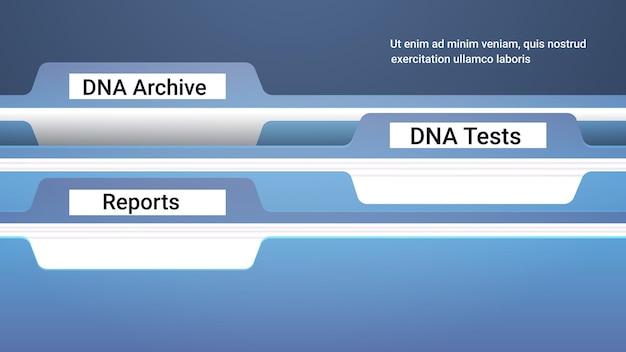 File registro cartelle con archivio dna genetico test e rapporti clinica cure mediche ricerca e test