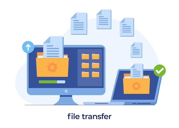 Concetto di trasferimento di file, dati di backup, salvataggio di documenti su spazio di archiviazione, cloud tecnologico, caricamento e download, modello vettoriale di illustrazione piatta