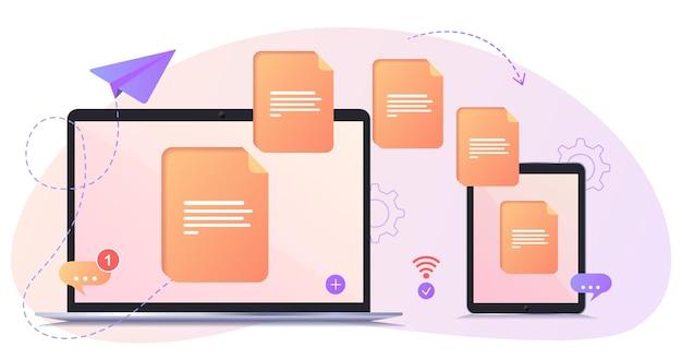 Trasferimento file file trasferiti in forma crittografata programma per la connessione remota tra computer e tablet accesso completo a file e cartelle remoti basato sul concetto di data center Vettore Premium