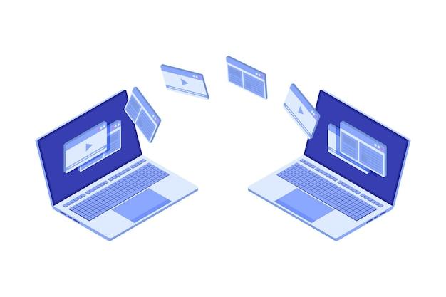 Trasferimento di file sul concetto isometrico del notebook. potrebbe rappresentare la sincronizzazione.