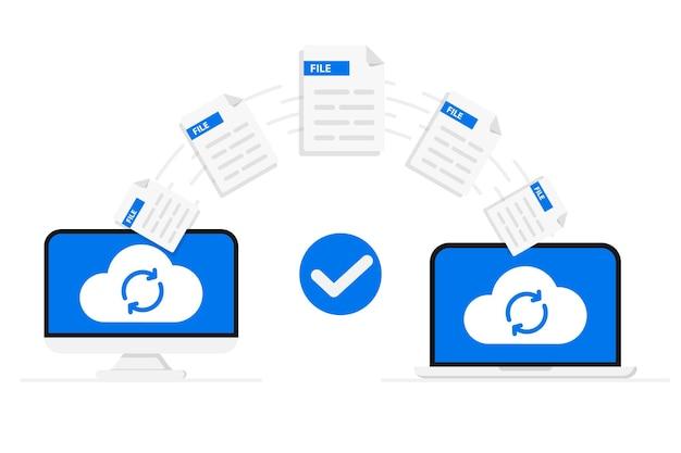 Trasferimento file caricamento remoto di file e cartelle due computer portatili che scambiano dati scambio dati