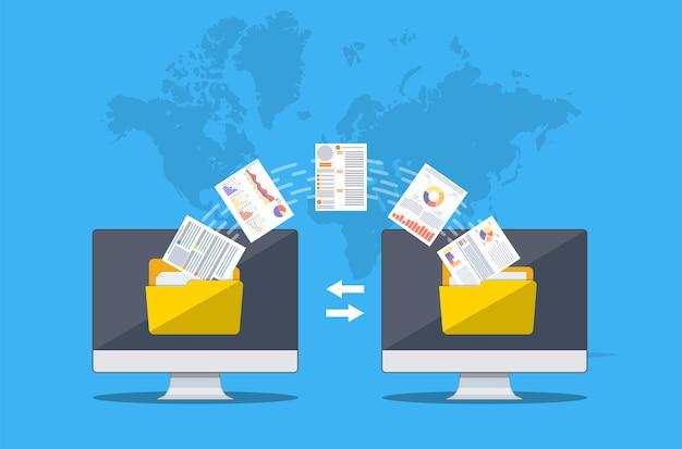 Trasferimento di file. due computer con cartelle sullo schermo e documenti trasferiti. copia file, scambio dati, backup, migrazione pc, concetti di condivisione file.
