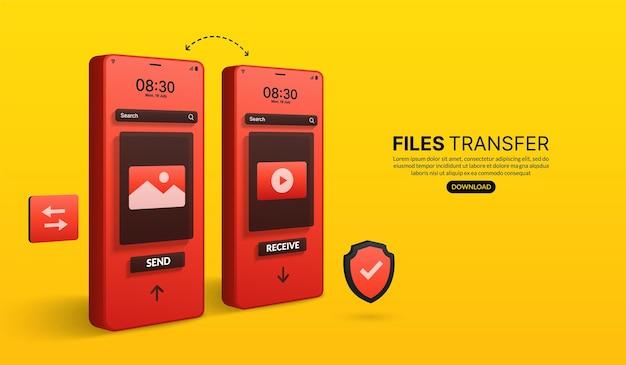Trasferimento di file e concetto di trasmissione di dati, condivisione di file online tramite applicazione per smartphone