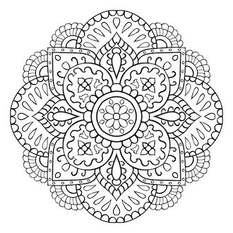 Mandala in filigrana con fiori astratti. ornamento etnico orientale. elemento di design.