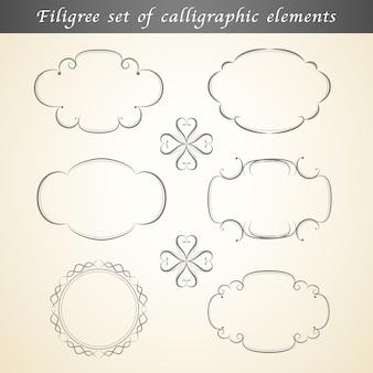 Un insieme di elementi calligrafici in filigrana abbellisce il design vintage.