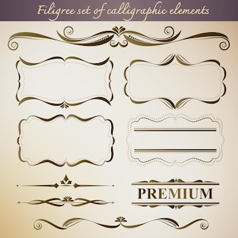 Set di filigrana di elementi calligrafici per il design vintage.