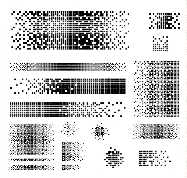 Set punteggiati quadrati pieni con effetto disintegrazione