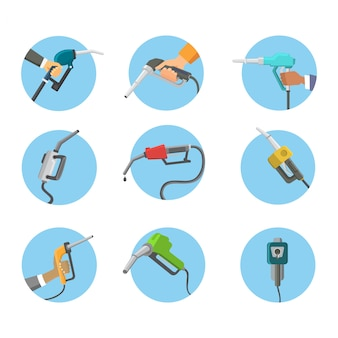 Pistola di riempimento della stazione di benzina nell'illustrazione dello strumento di servizio del serbatoio di petrolio di rifornimento di carburante di industria della raffineria delle mani della gente