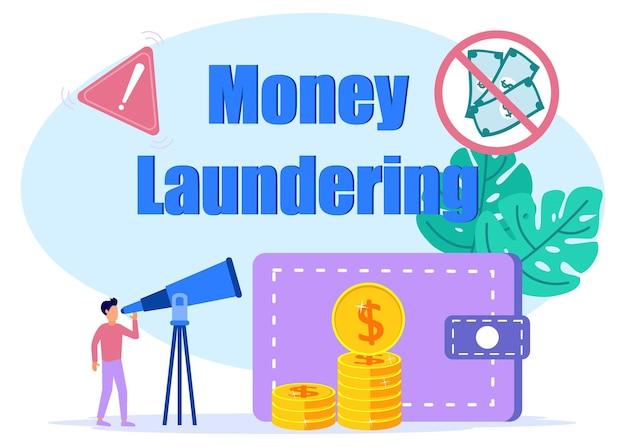 Fillustrazione grafica vettoriale personaggio dei cartoni animati di anti-riciclaggio di denaro sporco
