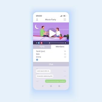 Modello di vettore di interfaccia smartphone app film. layout di progettazione della pagina dell'app mobile. piattaforma di streaming video. guardare film insieme allo schermo degli amici. interfaccia utente piatta per l'applicazione. display del telefono