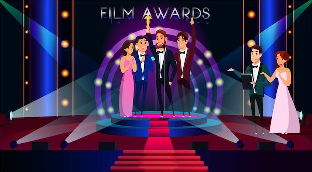Illustrazione dei premi cinematografici famoso attore che ottiene il premio d'oro celebrità sorridenti in piedi sul palco