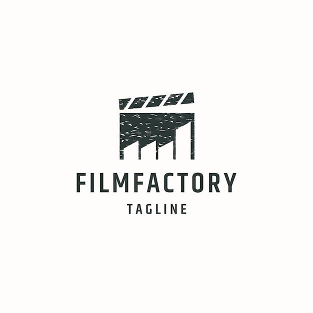 Modello di progettazione dell'icona del logo di produzione multimediale di fabbrica di film vettore piatto