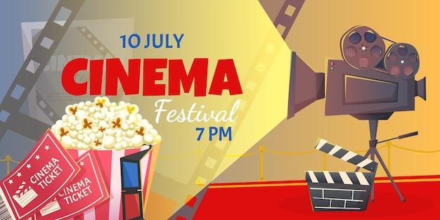 Banner del festival cinematografico con popcorn