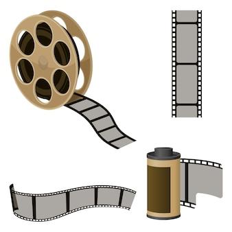 Set di rotoli di pellicola di elementi per il cinema. icone dell'industria cinematografica per produrre immagini in movimento.
