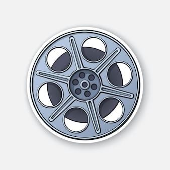Film stock nella vista frontale vecchia striscia di cinema bobina di macchina fotografica d'epoca industria cinematografica illustrazione vettoriale