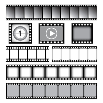 Striscia di pellicola. modello grafico di vettore di bobine di nastro da 35 mm di film o nastro fotografico. nastro di film 35mm, illustrazione della pellicola del fotogramma del cinema