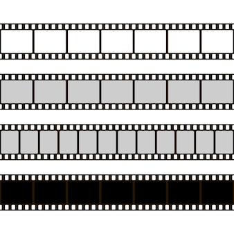 Set di strisce di pellicola. raccolta di film per la macchina fotografica. cornice cinematografica. modello di negativo su sfondo bianco