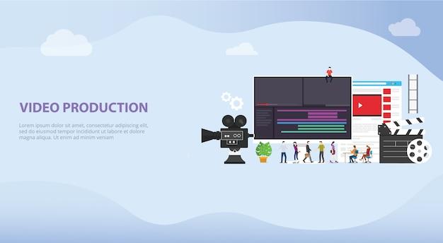 Concetto di produzione video cinematografico per modello di destinazione del sito web