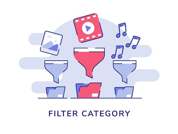 Filtro categoria concetto foto video musica su imbuto cartella file sfondo bianco isolato