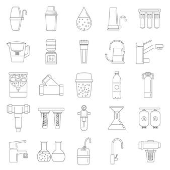 Set di icone del sistema di acqua del filtro