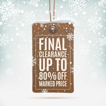 Liquidazione finale. cartellino del prezzo realistico, vintage su sfondo invernale con neve e fiocchi di neve. illustrazione.