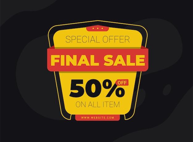 Vendita finale banckground sconto del 50% per il tema della promozione del tuo prodotto