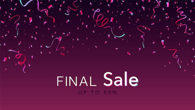 Banner di vendita finale. coriandoli lucidi rosa e blu.
