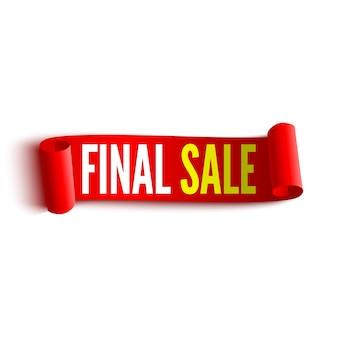 Banner di vendita finale. fiocco rosso