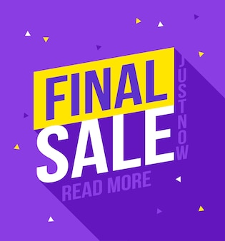 Banner di vendita finale. vendita e sconti. banner di design, poster di sconto, volantino economico, modello di coupon di marketing del concetto di prezzo ow.
