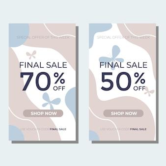 Modello di banner di vendita finale con colori tenui oastel per il design della tua promozione