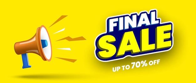 Banner di vendita finale con illustrazione vettoriale megafono