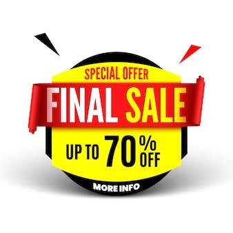Banner di vendita finale con nastro rosso. illustrazione.