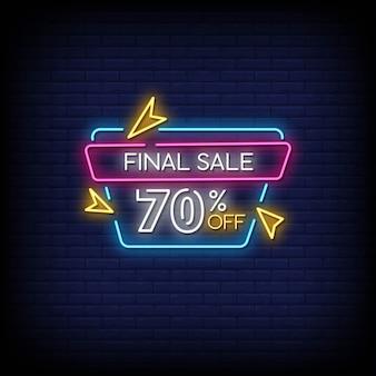 Testo di stile di insegne al neon di vendita finale