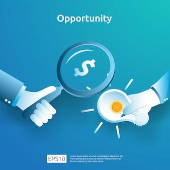 Finanziate il concetto di ricerca analitica e di opportunità con il dollaro e la lente d'ingrandimento della lampadina a disposizione. investitore alla ricerca di idee imprenditoriali innovative. illustrazione visione finanziamento degli investimenti