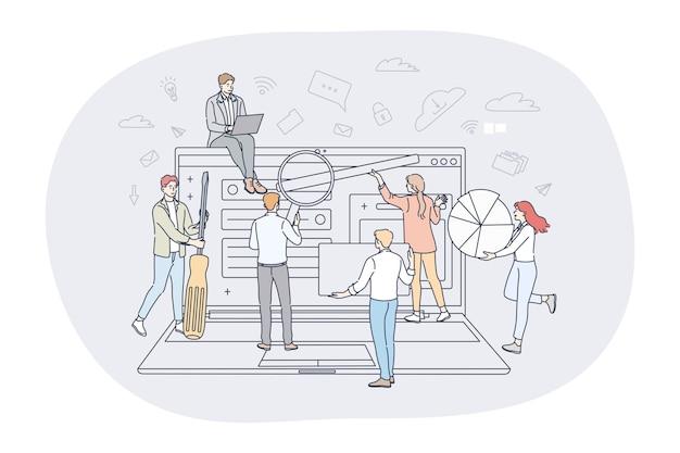 Concetto di lavoro di squadra di analisi di finanza